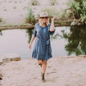 Wren & Ivory Vivienne polka dot dress denim blue
